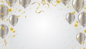 Illustrazione di vettore di buon compleanno Oro dei nastri e dei coriandoli o royalty illustrazione gratis