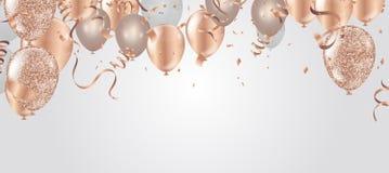Illustrazione di vettore di buon compleanno Oro dei nastri e dei coriandoli o illustrazione vettoriale