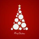 Illustrazione di vettore Cartolina di Natale con l'albero di Natale fatto dei cerchi e delle stelle eps10 Fotografia Stock Libera da Diritti