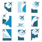Illustrazione di vettore che descrive nove caratteri che pilotano aereo illustrazione vettoriale