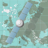 Illustrazione di vettore che descrive un satellite di comunicazioni illustrazione di stock