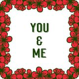 Illustrazione di vettore che mi segna voi e con lettere con la struttura rossa del fiore della varia folla royalty illustrazione gratis