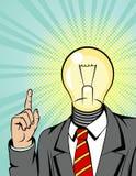 Illustrazione di vettore di colore di un uomo in un vestito con una lampadina invece di una testa L'uomo d'affari indica la barre illustrazione di stock