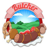 Illustrazione di vettore con carne ed il macellaio Fotografia Stock