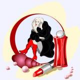 Illustrazione di vettore con gli accessori delle donne illustrazione vettoriale