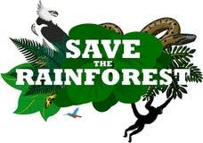 Illustrazione di vettore con gli animali della foresta pluviale della giungla Fotografia Stock