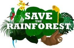 Illustrazione di vettore con gli animali della foresta pluviale della giungla Immagini Stock Libere da Diritti
