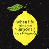 Illustrazione di vettore con il limone e la citazione motivazionale Royalty Illustrazione gratis