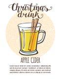 Illustrazione di vettore con il sidro di mela della bevanda di Natale royalty illustrazione gratis