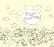 Illustrazione di vettore con il villaggio divertente di scarabocchio Immagini Stock
