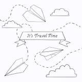 Illustrazione di vettore con l'aereo di carta Immagini Stock Libere da Diritti