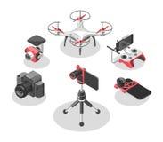 Illustrazione di vettore con l'elicottero ed il telecomando del quadrato Fuco, regolatore, lente di occhio del pesce, supporto de royalty illustrazione gratis