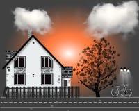 Illustrazione di vettore con la casa, bycicle Albero di autunno fotografia stock