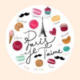 Illustrazione di vettore con la torre Eiffel Fotografia Stock
