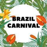 Illustrazione di vettore con le foglie tropicali Modello tropicale senza cuciture con le foglie ed i fiori stilizzati di monstera Fotografia Stock