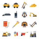 Illustrazione di vettore con le icone di estrazione mineraria Immagini Stock