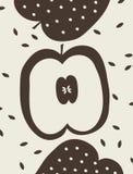 Illustrazione di vettore con tre mele Immagine Stock