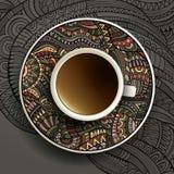 Illustrazione di vettore con una tazza di caffè Fotografie Stock