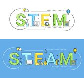 Illustrazione di vettore di concetto di approcci di istruzione del vapore e del gambo royalty illustrazione gratis