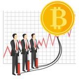 Illustrazione di vettore di concetto di crescita di Bitcoin Immagine Stock