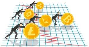 Illustrazione di vettore di concetto di crescita di Bitcoin Immagine Stock Libera da Diritti