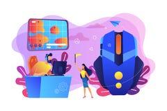 Illustrazione di vettore di concetto dei giochi online di strategia illustrazione di stock