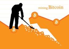 Illustrazione di vettore di concetto di estrazione mineraria di Bitcoin Fotografie Stock Libere da Diritti