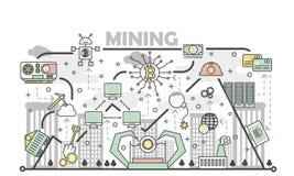 Illustrazione di vettore di concetto di estrazione mineraria di Bitcoin nello stile lineare piano Fotografie Stock