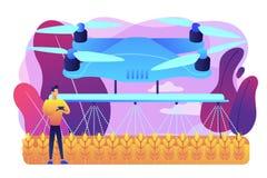 Illustrazione di vettore di concetto di uso del fuco di agricoltura illustrazione di stock