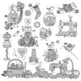 Illustrazione di vettore di cucito, strumenti di cucito fotografie stock