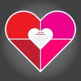Illustrazione di vettore, cuore di Infographic per progettazione e W creativo Immagini Stock