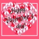 Illustrazione di vettore Cuore felice di San Valentino di rosso e del perno immagine stock