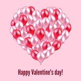 Illustrazione di vettore Cuore felice di San Valentino di rosso e del perno fotografie stock libere da diritti