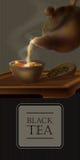 Illustrazione di vettore 3d di una cerimonia di tè Dal bollitore ceramico ha riempito di tazza calda della bevanda saporita Teier Fotografia Stock