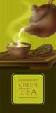 Illustrazione di vettore 3d di una cerimonia di tè Dal bollitore ceramico ha riempito di tazza calda della bevanda saporita Teier Fotografie Stock