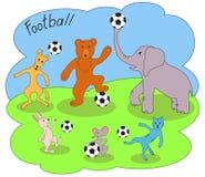 Illustrazione di vettore degli animali differenti con pallone da calcio Per progettazione, maglietta, etichetta Immagine Stock Libera da Diritti