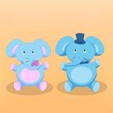 Illustrazione di vettore degli elefanti del fumetto Fotografia Stock Libera da Diritti