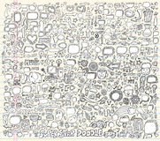 Illustrazione di vettore degli elementi di disegno di Doodle del taccuino Immagine Stock