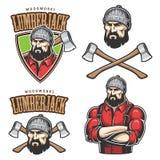 Illustrazione di vettore degli emblemi del boscaiolo Fotografia Stock Libera da Diritti