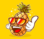 Illustrazione di vettore degli occhiali da sole variopinti dell'ananas dei pantaloni a vita bassa Fotografia Stock Libera da Diritti