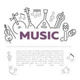 Illustrazione di vettore degli strumenti musicali illustrazione vettoriale