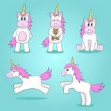 Illustrazione di vettore degli unicorni svegli Fotografia Stock Libera da Diritti