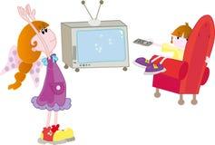 Bambini con la TV Fotografia Stock