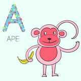 Illustrazione di vettore dei bambini della scimmia della lettera A di alfabeto Fotografia Stock