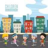 Illustrazione di vettore dei bambini felici illustrazione di stock