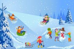 Illustrazione di vettore dei bambini felici del paesaggio di inverno che giocano con la camminata del pupazzo di neve all'aperto royalty illustrazione gratis