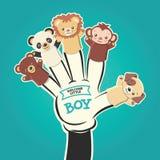 Illustrazione di vettore dei burattini animali del dito e del ragazzino benvenuto del testo - eps8 Immagine Stock Libera da Diritti