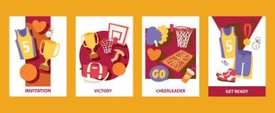Illustrazione di vettore dei cads di pallacanestro invito Vittoria cheerleader Ottenga pronto Uniforme, trofeo, medaglia, canestr illustrazione di stock