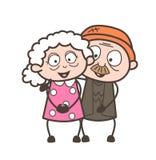 Illustrazione di vettore dei caratteri delle coppie di amore di vecchiaia del fumetto Fotografia Stock Libera da Diritti