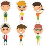 Illustrazione di vettore dei caratteri maschii di estate Immagine Stock